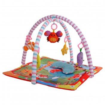 Развивающий коврик с дугами «слоник и друзья», 5 игрушек, с подушечкой