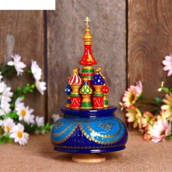Сувенир-шкатулка музыкальная храм, 19х15,5 см, сине-голубая