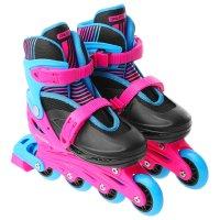 Роликовые коньки раздвижные, колеса pvc 64 мм, пластиковая рама, black/blu