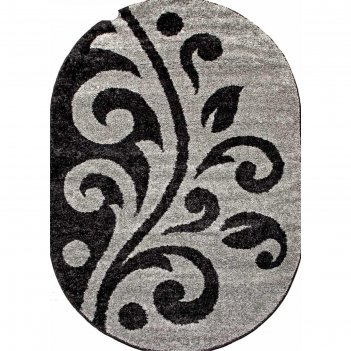 Овальный ковёр platinum t621, 80x150 см, цвет gray