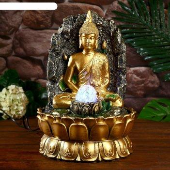 Фонтан настольный от сети, подсветка медитация будды 40х25х25 см