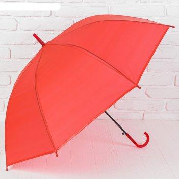 Зонт-трость, полуавтомат, r=51см, цвет красный