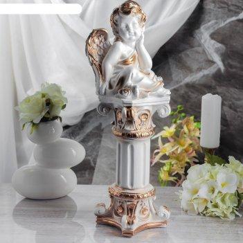 Статуэтка ангел на колонне №2  белый