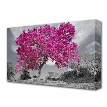 Картина на холсте цветущее дерево 60*100 см