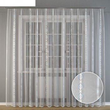 Тюль серебристые узоры, 300x275 см, п/э
