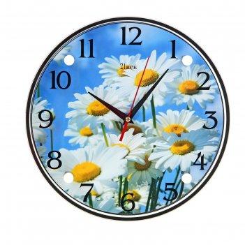 Часы настенные, серия: цветы, ромашки, 30х30  см, микс