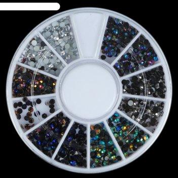 Стразы для декора, 3 мм, разноцветная голография