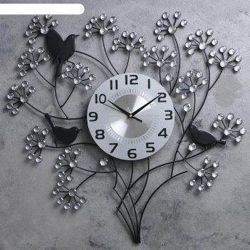 Часы настенные интерьерные с черными птицами на ветках (стразы) 60*60см