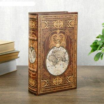 Сейф-книга дерево кожзам этот огромный мир 21х13х5 см