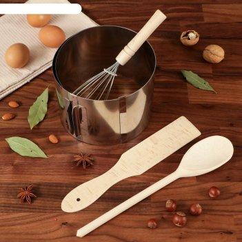 Подарочный набор для выпечки, 4 пр: форма, лопатка, ложка, венчик