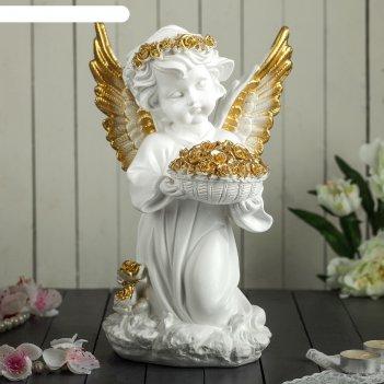 Статуэтка ангел с корзиной цветов большая, золото