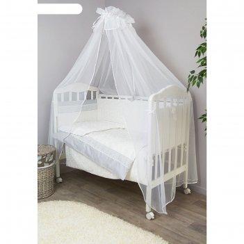 Комплект в кроватку «тридцать три короны», 7 предметов, сатин, молочный 71
