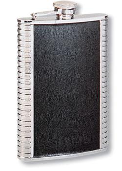Фляга s.quire 0,24 л, сталь+натуральная кожа, вставка черная