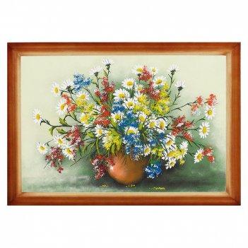 Картина полевые цветы багет дерево №6 (40х60 см) горизонтальное