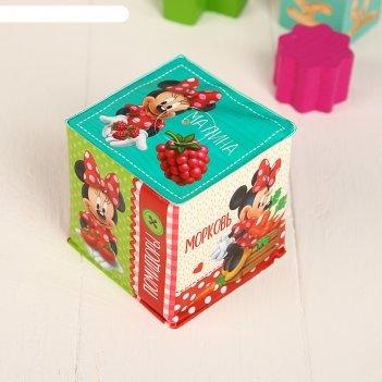 Мягкие кубики «овощи и фрукты», со свистулькой, минни маус р-р. 7*7см, для