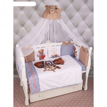Комплект в кроватку «капитан», 18 предметов, сатин, цвет кофейный/синий