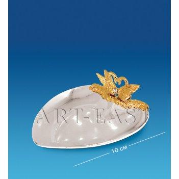 Ar-1156 блюдце-сердце с лебедями (юнион)