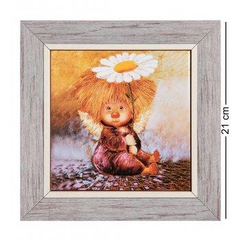 Ang-1170 панно керамическое ангел надежды и веры 15х15