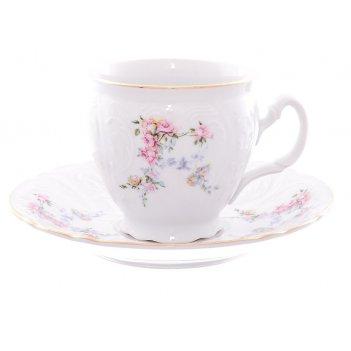 Чашка 240 мл с блюдцем 160 мм высокая bernadotte,  декор дикая роза,  отво