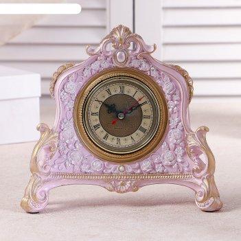 Часы настольные каминные, цвет  розовый, 21х19х6.5 см