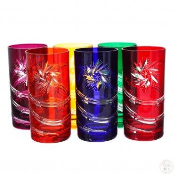 Набор стаканов для воды bohemia цветной хрусталь 380мл(6 шт)