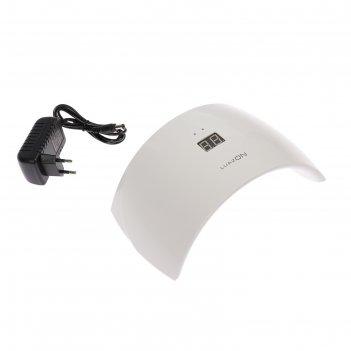 Лампа для гель-лака luazon luf-21, led, 24 вт, 15 диодов, таймер 99 сек.,