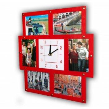 Часы парад мгновений с фоторамками 10х15см (6шт) 32х32см красные