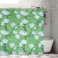 Штора для ванной 180х180 см, eva цветущая сакура, цвет зеленый