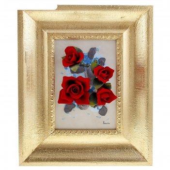 Картина розы на синем