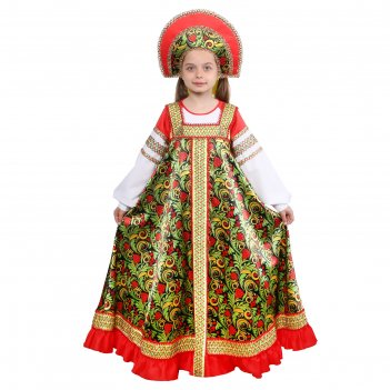 Русский народный костюм для девочкирябинушкаплатье длинное,кокошник,р-р38р