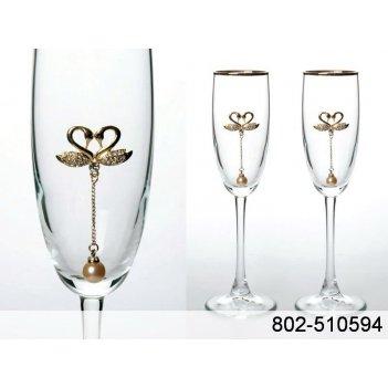 Набор бокалов для шампанского из 2 шт. с золотой каймой 170