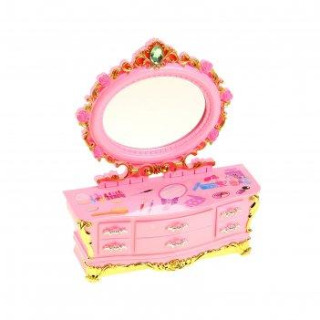 Шкатулка музыкальная механическая комод с зеркалом розовый