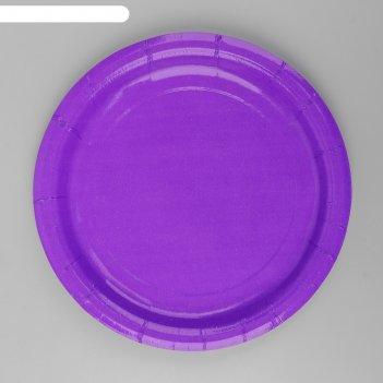 Тарелка бумажная однотонная, цвет фиолетовый