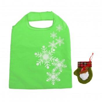 Сумка хозяйственная снежинки, складная, 1 отдел, цвет зелёный