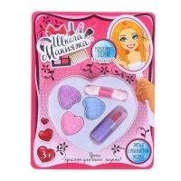 Набор косметики для девочки сердечко тени 3 цвета по 1 гр+ аппликатор + по