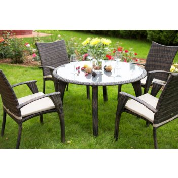 Комплект мебели из ротанга monaco (стол и 4 стула с подушками) цвет коричн