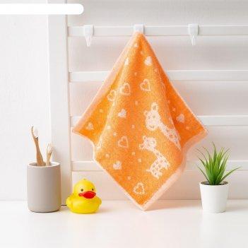 Полотенце махровое крошка я жирафы 26*26 см, цв.оранжевый, 100% хлопок, 40
