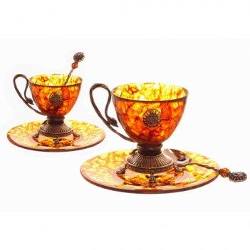 Чаша для чая цезарь из янтаря и ювелирной бронзы
