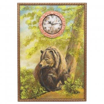 Часы с картиной медведь 45х65 см