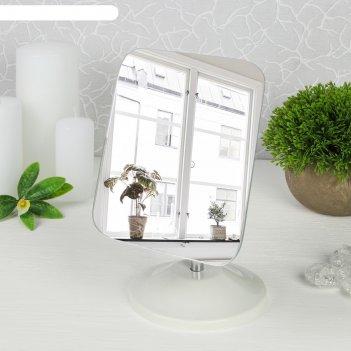 Зеркало настольное на гибкой ножке, прямоугольное, цвет белый