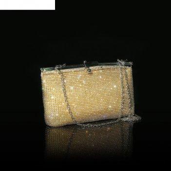 Клатч женский, отдел на рамке, длинная цепь, цвет золотой
