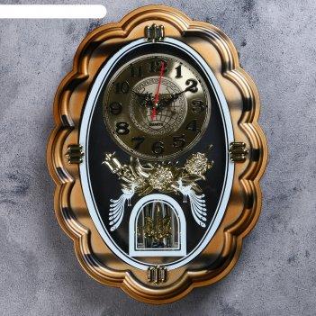 Часы настенные, серия: маятник, павлины, 32х24 см