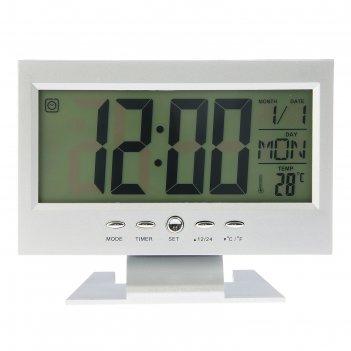 Часы-будильник электронные берсон, с термометром, 14.5х11 см