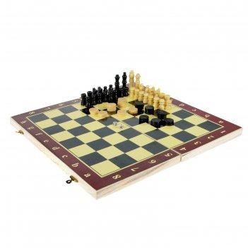 Игра настольная 3 в 1: нарды, шахматы, шашки, в пленке