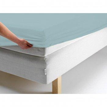 Простыня на резинке, размер 140х200х20 см, цвет голубой, трикотаж 125 г/м2