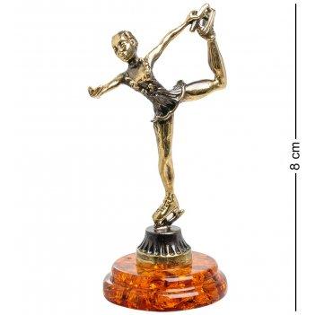 Am-1386 фигурка фигуристка (латунь, янтарь)