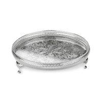 Поднос на ножках, диаметр: 28 см, материал: нержавеющая сталь, серебро, qu