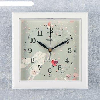 Часы настенные, серия: животный мир, зайка, белая рамка, 20х20 см микс
