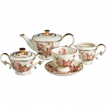 Чайный сервиз на 6 персон, 15 пр. корейская роза...