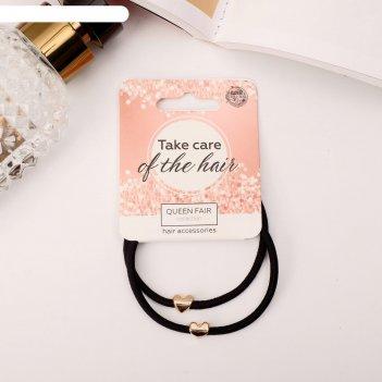 Резинка для волос берта (набор 2 шт) сердечки
